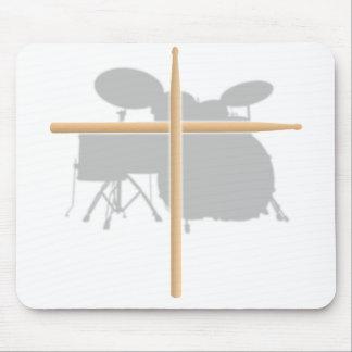 Christian Rock Drummer Drum Stick Cross Mousepad