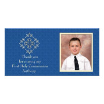Christian Royal Blue Damask Photo Card