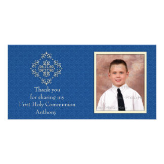 Christian Royal Blue Damask Photo Card