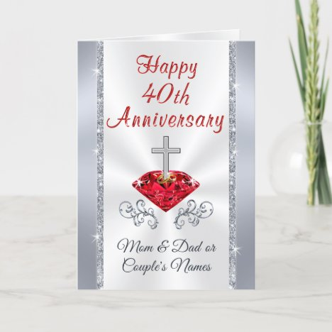 Christian Ruby 40th Wedding Anniversary Cards