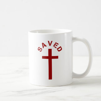 Christian Saved Red Cross and Text Design Coffee Mug