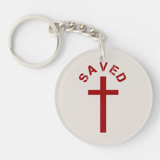 Christian Saved Red Cross and Text Design Keychain