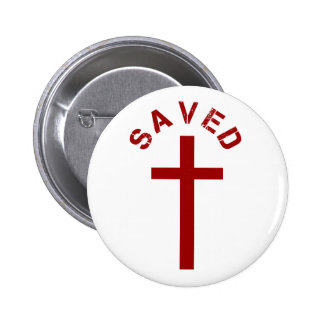 Christian Saved Red Cross and Text Pinback Button