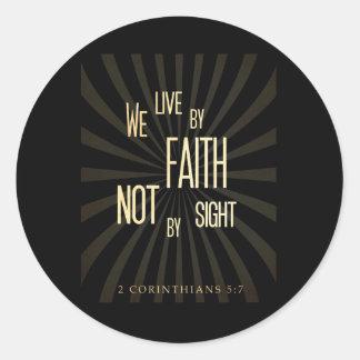 Christian Scriptural Bible 2 Corinthians 5:7 Classic Round Sticker