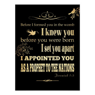 Christian Scriptural Bible Verse - Jeremiah 1:5 Posters