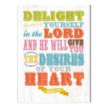 Christian Scriptural Bible Verse - Psalm 37:4 Postcard