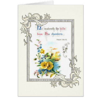 Christian Scripture And Pretty Flowers Card