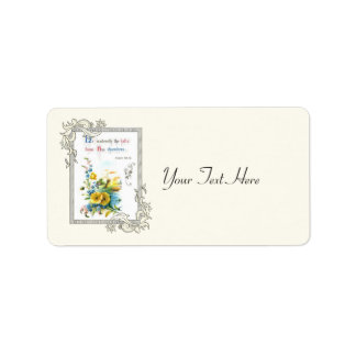 Christian Scripture And Pretty Flowers Label