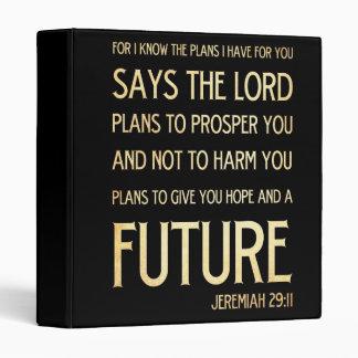 Christian Scripture Bible Verse Art Jeremiah 29:11 3 Ring Binder