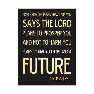 Christian Scripture Bible Verse Art Jeremiah 29:11 Gallery Wrapped Canvas