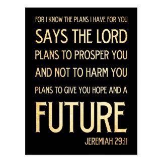 Christian Scripture Bible Verse Art Jeremiah 29:11 Postcard