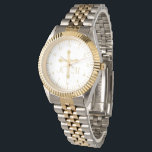 """Christian Simple Gold Cross on White Monogrammed Watch<br><div class=""""desc"""">This watch features a Christian faux gold cross in the center with monogrammed initials for you to personalize. The background of the face is white with faux gold markings and numbers for the time. The perfect gift for religious occasions like first communion and confirmation. Designed by artist ©Susan Coffey.</div>"""