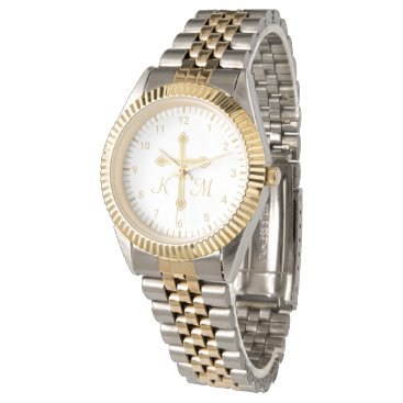 Christian Simple Gold Cross on White Monogrammed Watch