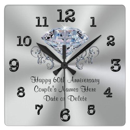 Christian Sixtieth Wedding Anniversary Gift Square Wall Clock