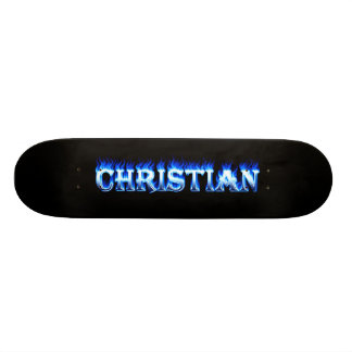 Christian skateboard blue fire and flames design