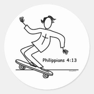 Christian Skateboard Classic Round Sticker