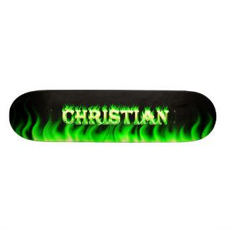 Christian skateboard green fire and flames design