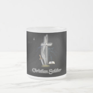 Christian soldier cases frosted glass coffee mug