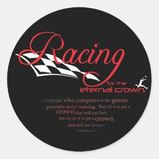 Christian stickers: Racing Classic Round Sticker