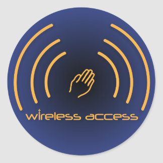 Christian stickers: Wireless Access (prayer) Classic Round Sticker
