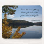 """Christian Strength Mouse Pad<br><div class=""""desc"""">Autumn lake,  Christian mouse pad.  Scenic photography and scripture from Philippians which reads,  &quot;I can do everything through him who gives me strength.&quot;</div>"""