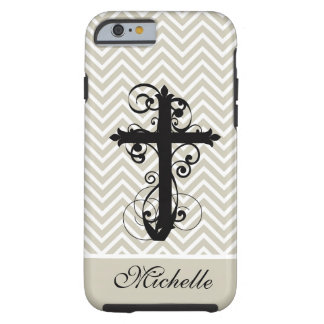Christian Swirling Cross Custom Tough iPhone 6 Case