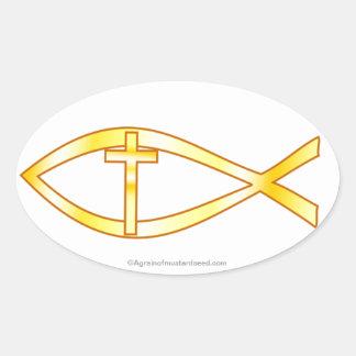Christian Symbol Oval Sticker