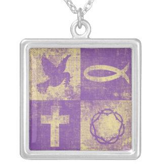 Christian Symbols Square Pendant Necklace