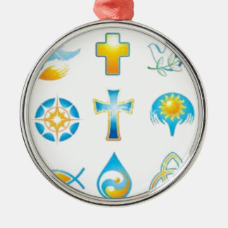 Christian Synbols Faith Filled Gift, Tie, Chain Metal Ornament