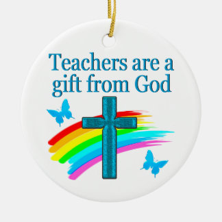 CHRISTIAN TEACHER CROSS AND BUTTERFLY DESIGN CERAMIC ORNAMENT