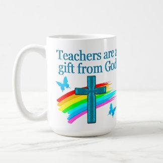 CHRISTIAN TEACHER CROSS AND BUTTERFLY DESIGN COFFEE MUG