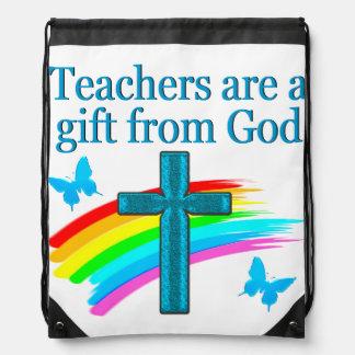 CHRISTIAN TEACHER CROSS AND BUTTERFLY DESIGN DRAWSTRING BAG