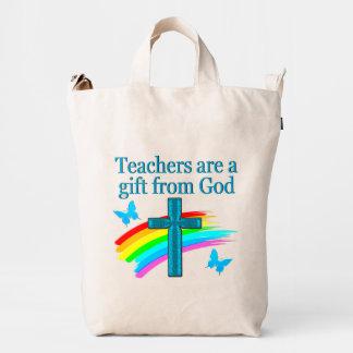CHRISTIAN TEACHER CROSS AND BUTTERFLY DESIGN DUCK BAG