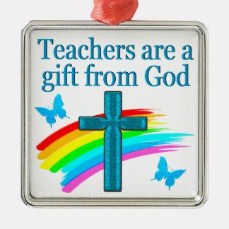 CHRISTIAN TEACHER CROSS AND BUTTERFLY DESIGN METAL ORNAMENT