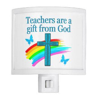 CHRISTIAN TEACHER CROSS AND BUTTERFLY DESIGN NIGHT LIGHT