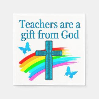 CHRISTIAN TEACHER CROSS AND BUTTERFLY DESIGN PAPER NAPKIN