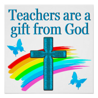 CHRISTIAN TEACHER CROSS AND BUTTERFLY DESIGN POSTER