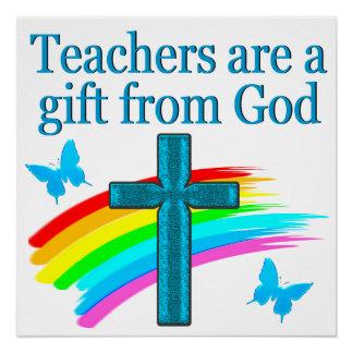 CHRISTIAN TEACHER CROSS AND BUTTERFLY DESIGN POSTER