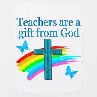 CHRISTIAN TEACHER CROSS AND BUTTERFLY DESIGN RECEIVING BLANKET