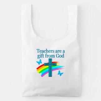 CHRISTIAN TEACHER CROSS AND BUTTERFLY DESIGN REUSABLE BAG