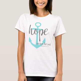 Christian Teal Hope Anchors The Soul Verse T-Shirt