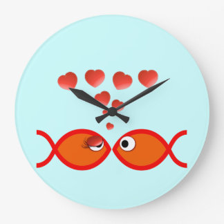 Christian Valentine Orange v2 Large Clock