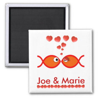 Christian Valentine Symbols - Orange v1 2 Inch Square Magnet