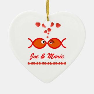 Christian Valentine Symbols - Orange v1 Ceramic Ornament