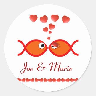 Christian Valentine Symbols - Orange v1 Classic Round Sticker