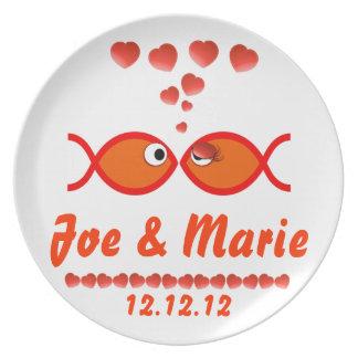 Christian Valentine Symbols - Orange v1 Dinner Plate