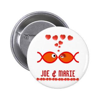 Christian Valentine Symbols - Orange v1 Pinback Button