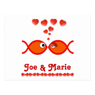 Christian Valentine Symbols - Orange v1 Postcard