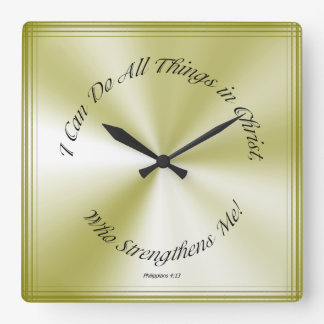 Christian Verse I Can Do All Things Olive Grn Rays Square Wallclocks