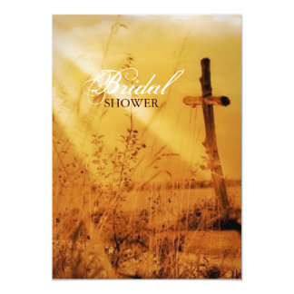 Christian vintage country cross bridal shower card
